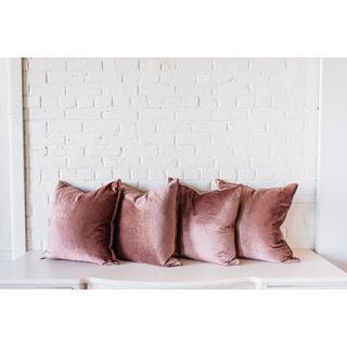 four rose velvet square pillows