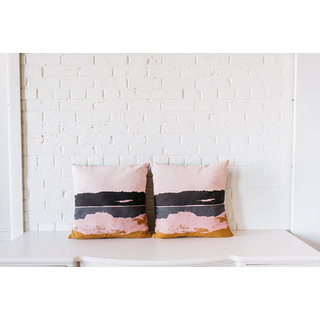 two pair modern pink square pillows on white backround