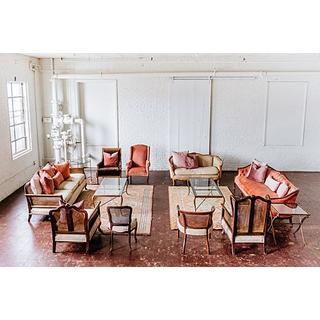 vintage upholstered lounge set wooden pink blush neutral gold