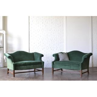 pair green velvet couches