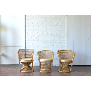 Wicker Barrel Chair with tan Seat Cushion