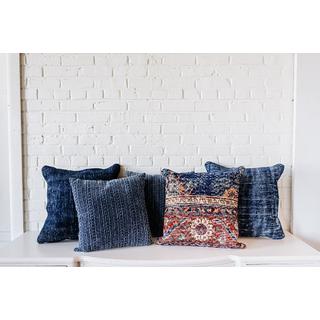 Five Navy Blue Killim-style PIllows