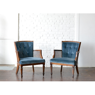 blue velvet, button tufted chairs wooden cane