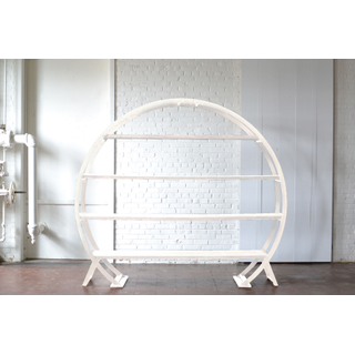 Round White Arbor with Shelves