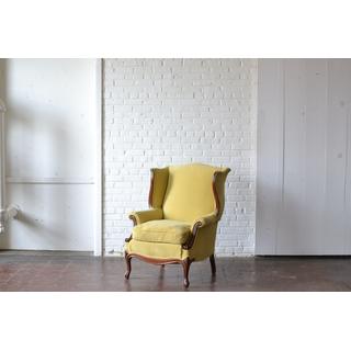 gold yellow wingback velvet chair
