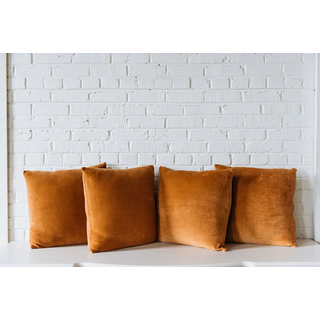 four Camel brown Velvet Pillows