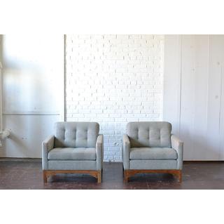 mid-century modern light blue chairs