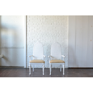 white upholstered traditional chairs