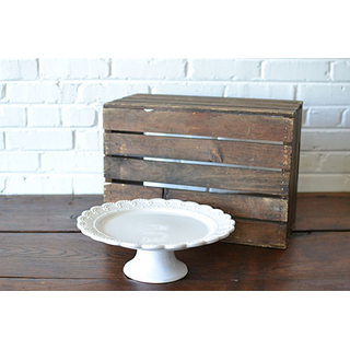 white traditional glass cake stand