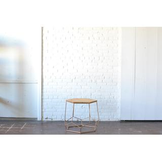 modern geometric gold and wood coffee table