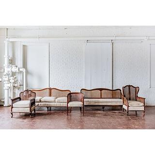 caned back wood trim upholstered seating