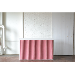 White bar with handmade pink fabric bar front