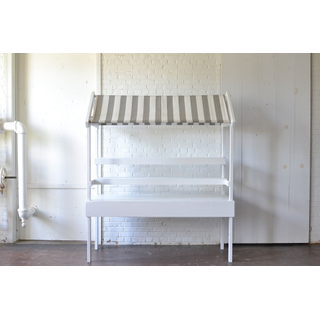 market cart with a classic striped awning and removable shelves