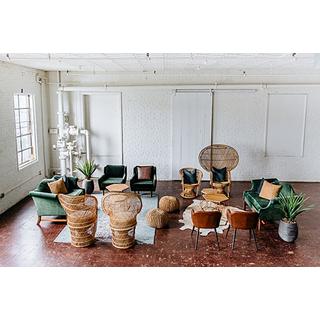 boho green wooden wicker lounge package