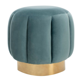 teal tufted ottoman with gold base