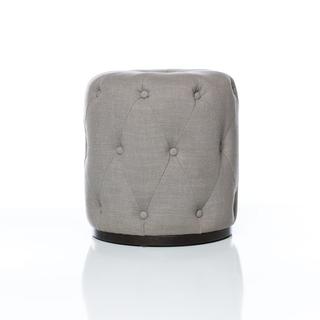 circular grey tufted stool
