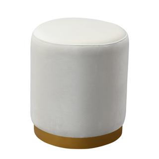 circular cream velvet ottoman with brushed metal base