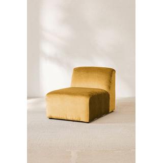 gold velvet armless sofa