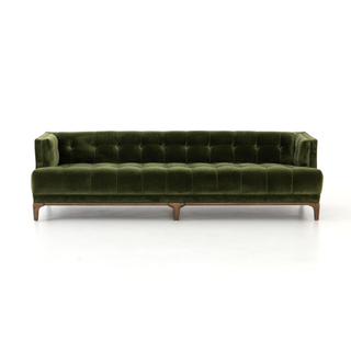 mid-century sapphire olive sofa with clean-lined arms