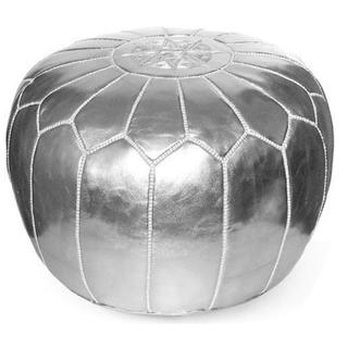 circular silver pouf with white trim