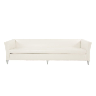Modern white faux leather sofa with clean lines