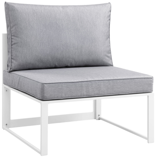 grey modern armless chair with white metal base, modular collection for unlimited arrangements