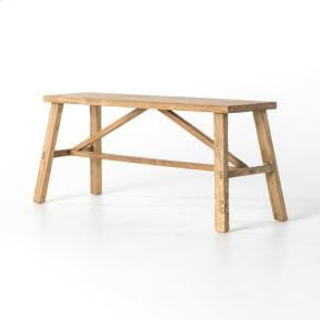 wooden bench with crossbeams
