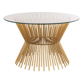 Modern Brass and Glass Coffee Table for event furniture rental