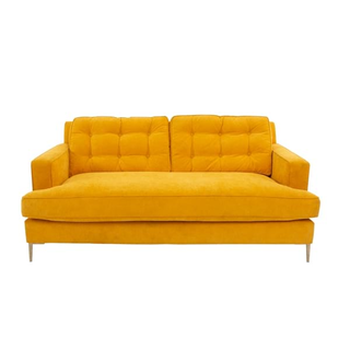 bright yellow sofa, comfortable and fun