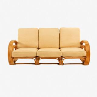 vintage pretzel rattan 3 piece sofa and desert sand cushions