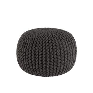 woven grey pouf