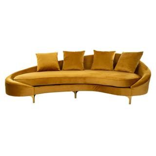 Curved golden velvet sofa with brass legs