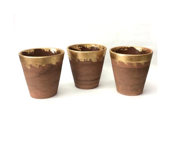 Gold Dipped Clay Pot