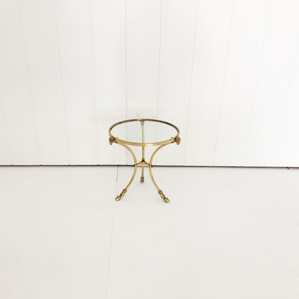 Brass and Glass Accent Table