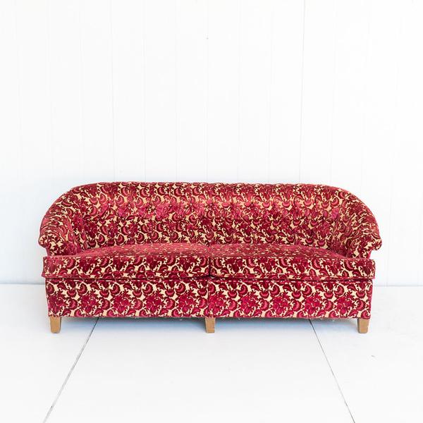 Red Velvet Floral Brocade Sofa