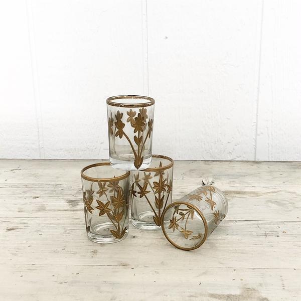 Etched gold floral votive candle holder
