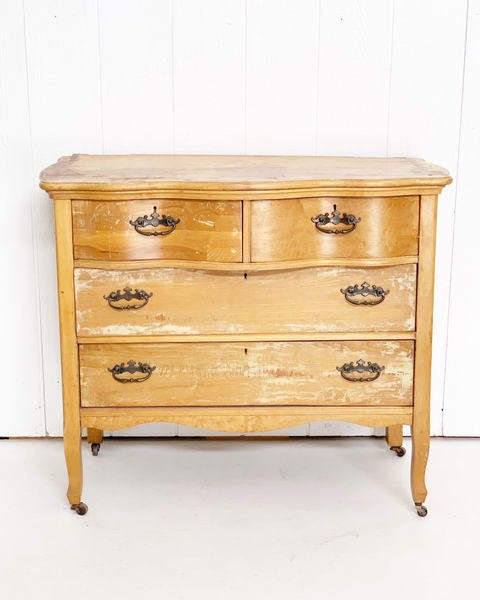Antique Style Buffet in Light Distressed Wood with Detailed Hardware