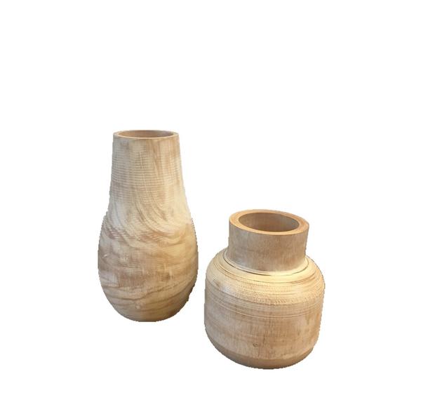 Wood Vase Set