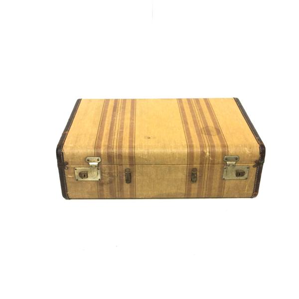 Vintage Striped Suitcase