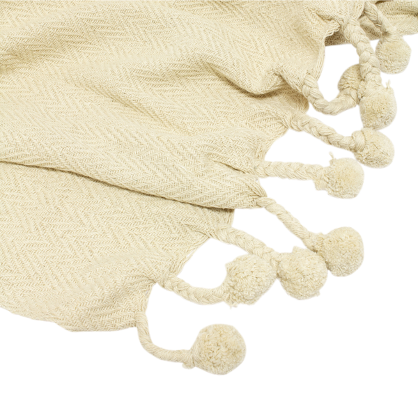 Cream Pom Pom Throws