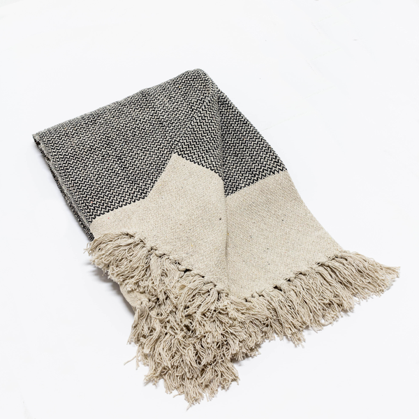 Gray Fringed Throws