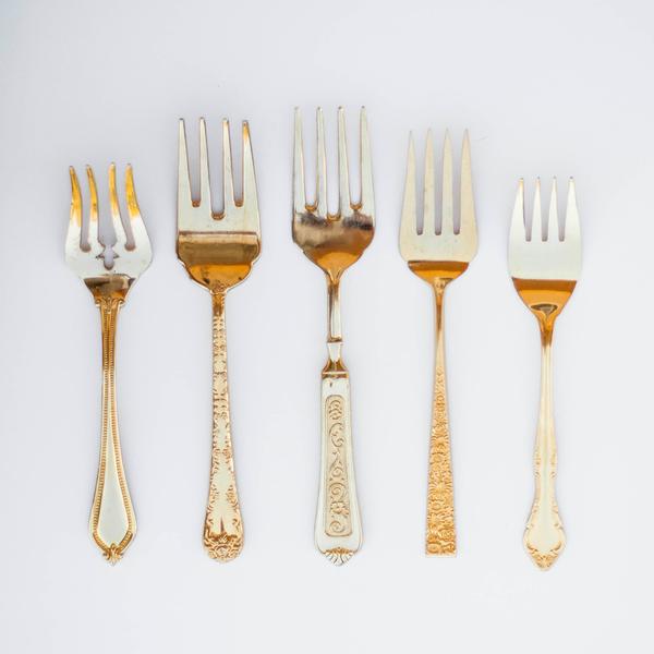Assorted Gold Serving Forks