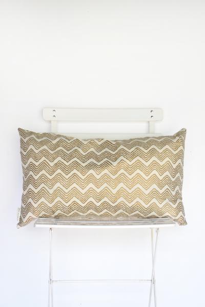 Gold And Ivory Chevron Lumbar Pillow