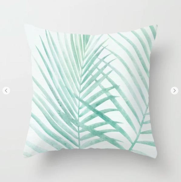 Soft Green Palm Pillow