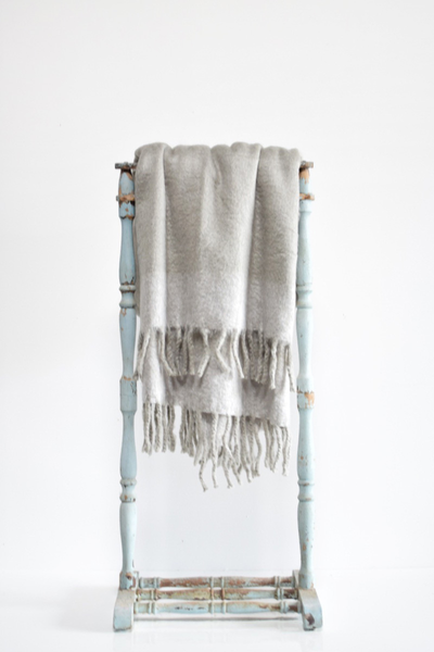 Soft Grey Wool Tassle Throw