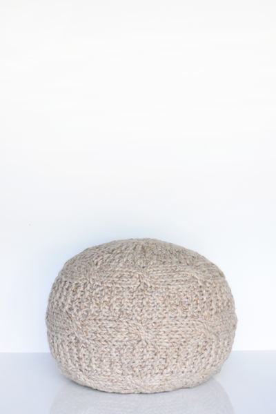 Taupe Wool Sweater Pouf