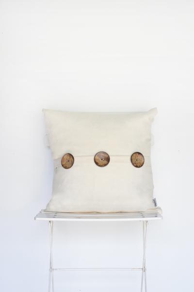 Ivory Linen 3-Button Pillow
