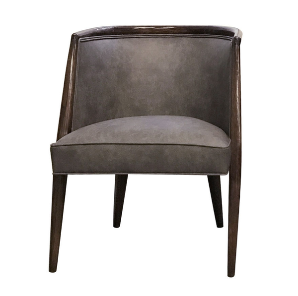 Vintage mid-century modern side chair. Gray distressed faux leather upholstery, ebony wood