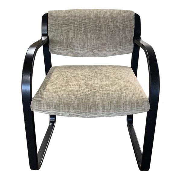 Mid Century Neutral Wave Velvet Chairs with Ebony wood Base.