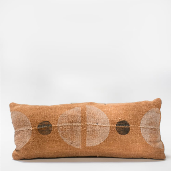 Pillow // Rust Mudcloth Color Block, lumbar